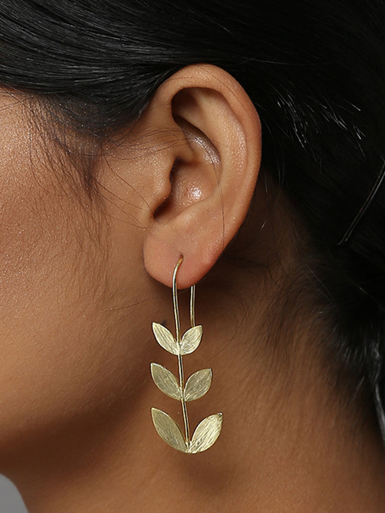 Tri Hooks Brass Earrings