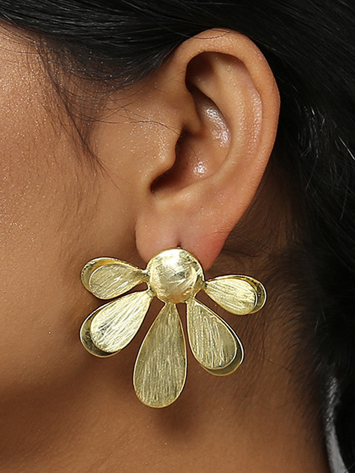 Tri Petal Hooks Brass Earrings