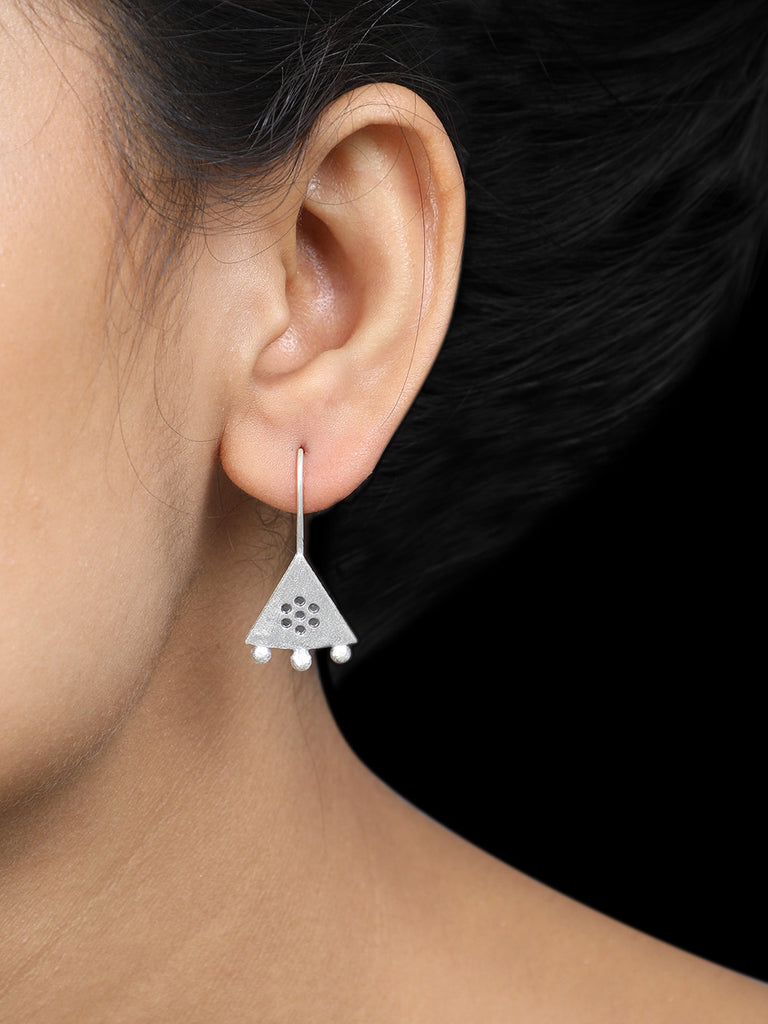 Triangle Handcrafted Silver Earrings
