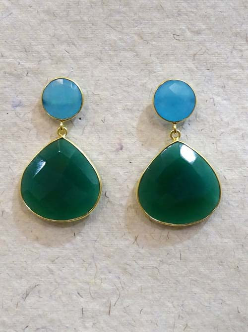 Turq Emerald Heart Drop Earring