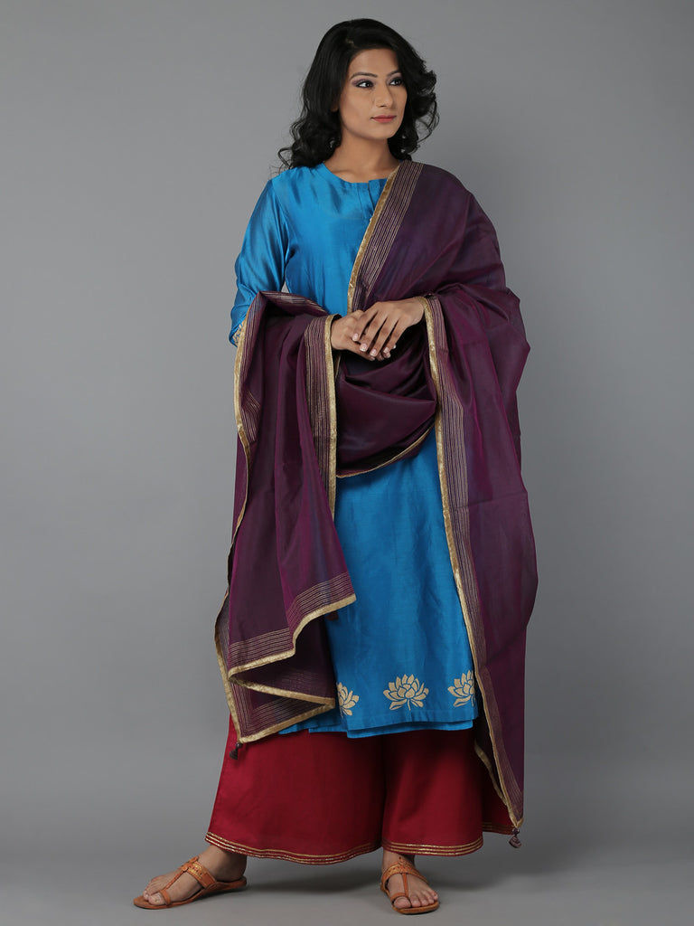 Turqouise Wine Purple Chanderi Suit - Set of 3