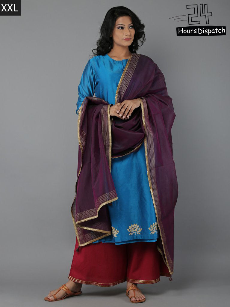 Turqouise Wine Purple Chanderi Suit - Set of 4
