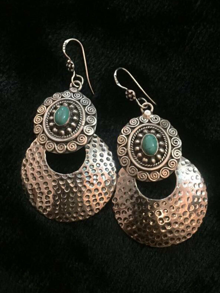 Turquoise Beaten Disc Silver Earrings