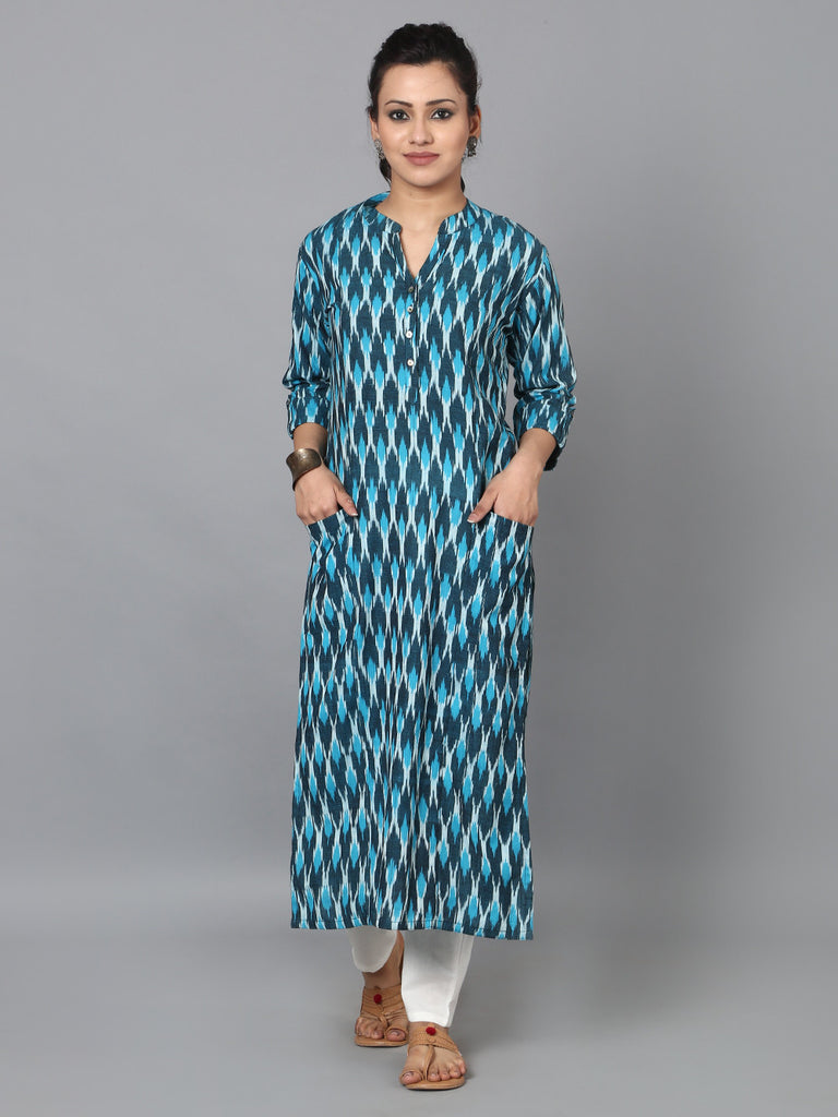Turquoise Black Cotton Ikat Front Pocket Kurta