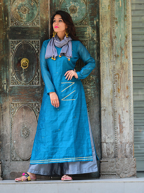 Turquoise Blue Chanderi Kurta with Grey Palazzo and Bird Tassel Scarf  - Set of 3
