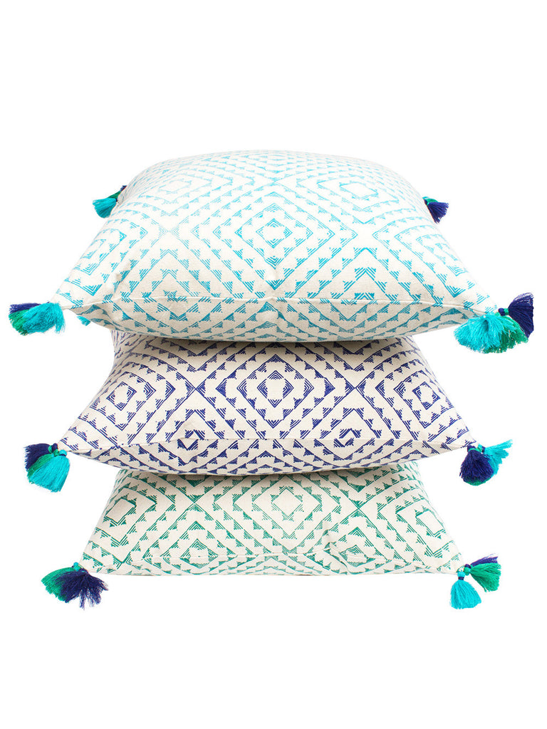 Turquoise Blue Green Cotton Serene Orri Cushion Covers- Set of 3