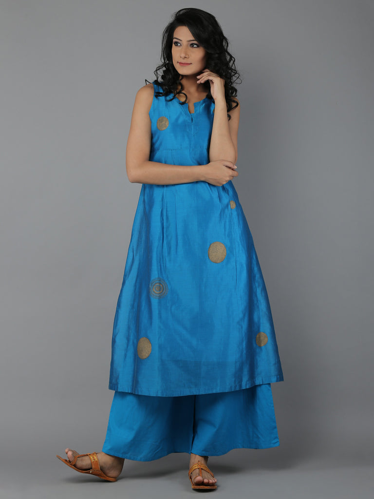 Turquoise Blue Block Printed Chanderi Kurta with Cotton Slip