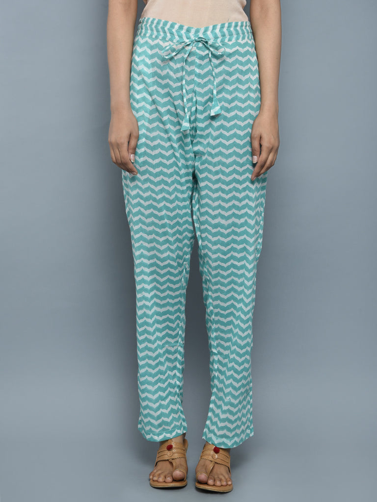 Turquoise Cotton Block Printed Pants