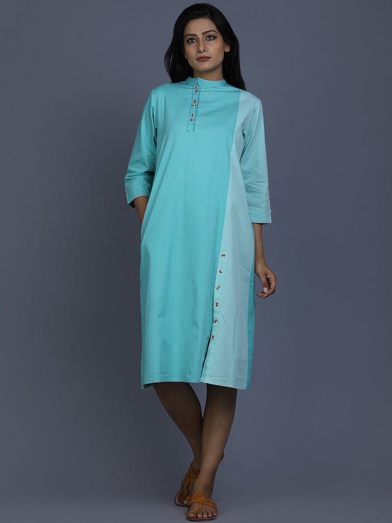 Aqua Blue Cotton Shirt Dress