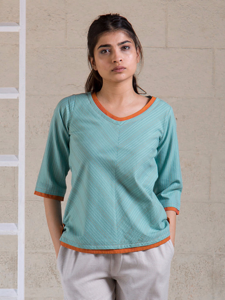 Blue Orange Cotton Top
