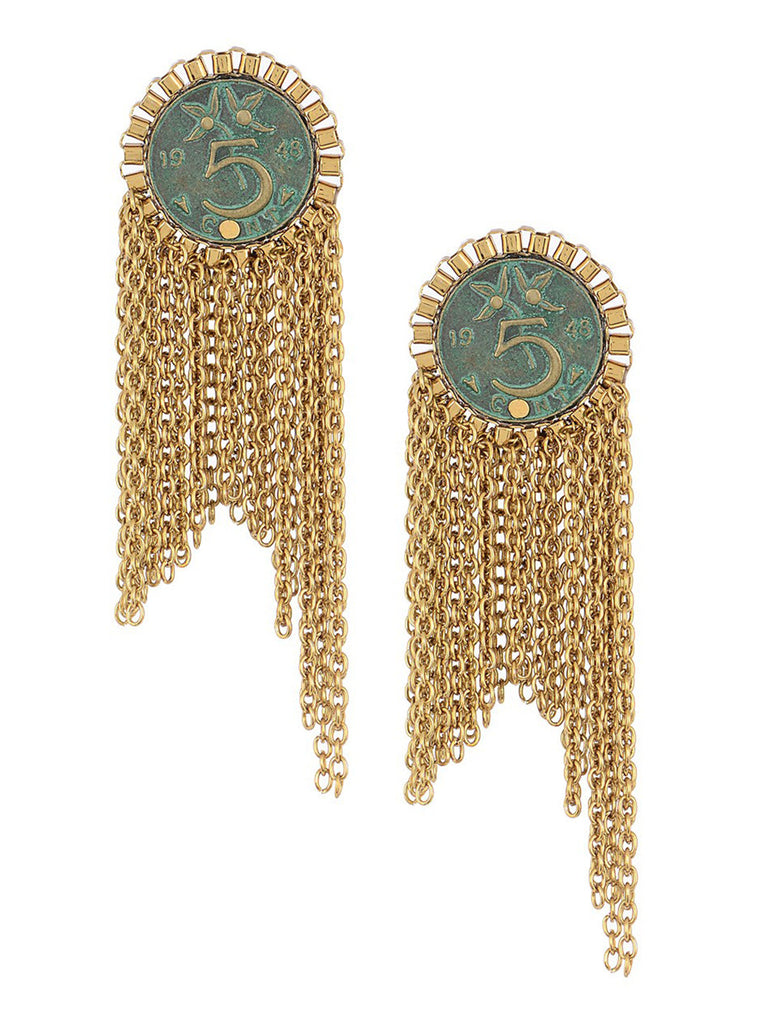 Turquoise Golden Coin Silver Earrings