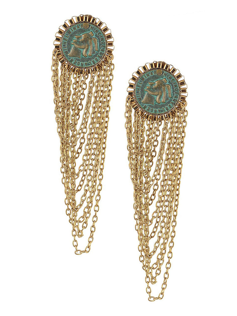 Green Golden Coin Silver Earrings with Multi Layer Chain