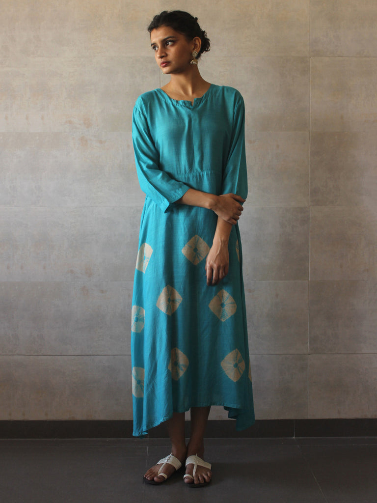 Turquoise Ivory Cotton Silk Yoke Bandhej Dress