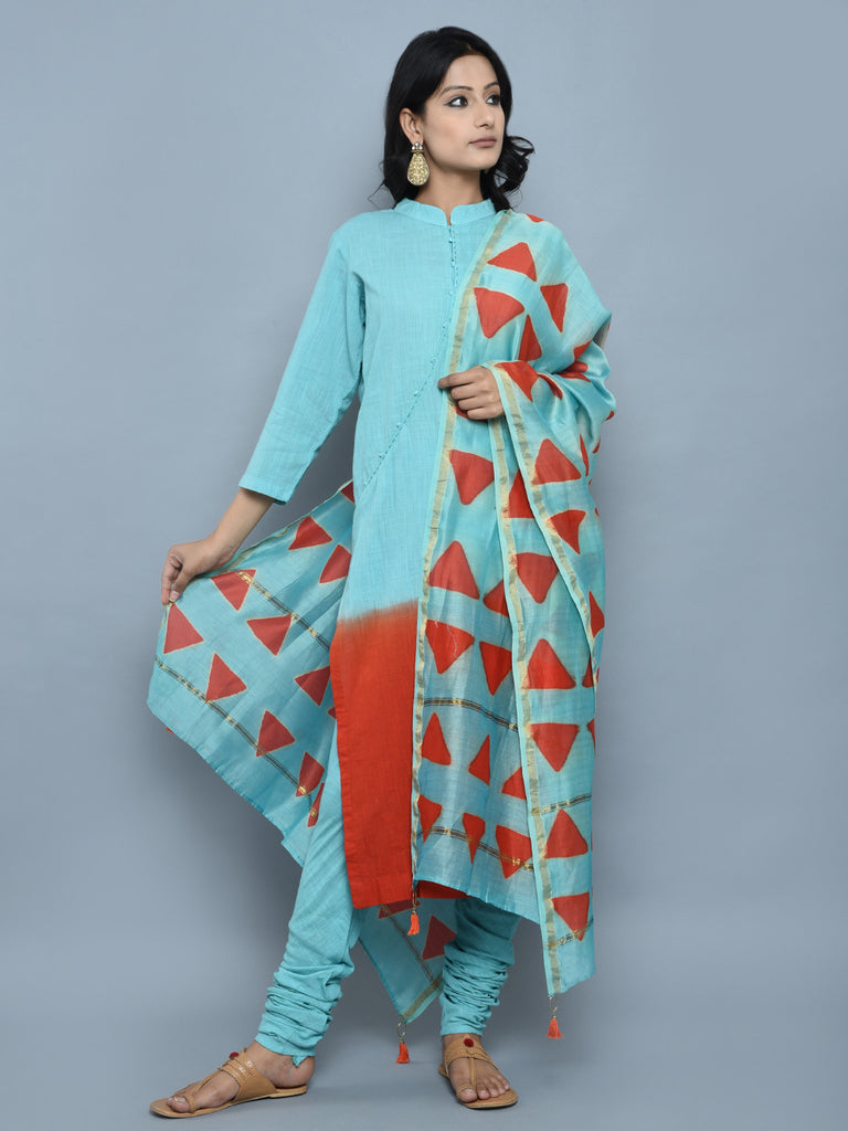 Turquoise Orange Ombre Dyed Cotton Straight Kurta with Churidar and Dupatta - Set of 3