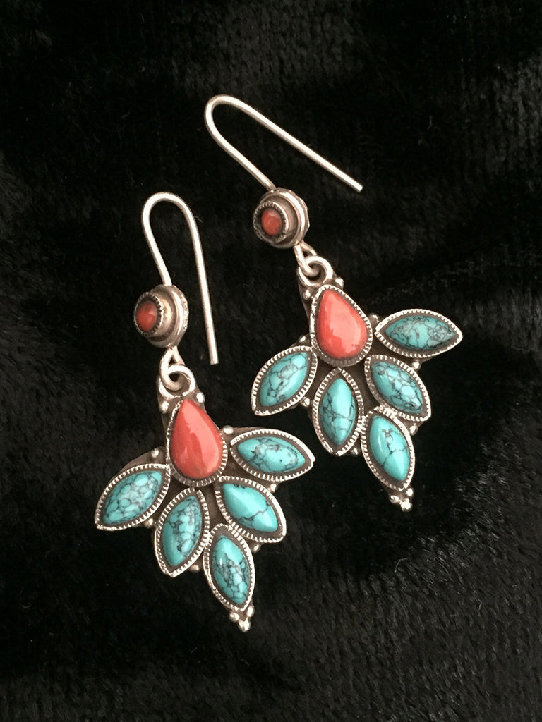 Turquoise Red Silver Earrings