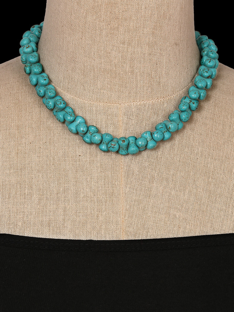 Curved Turquoise Semiprecious Stone Necklace