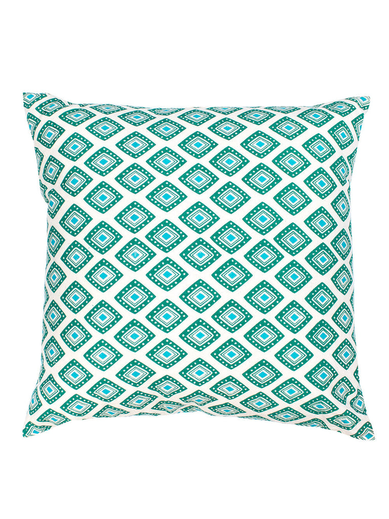 Turquoish Green Cotton Baholo Reversible Cushion Cover