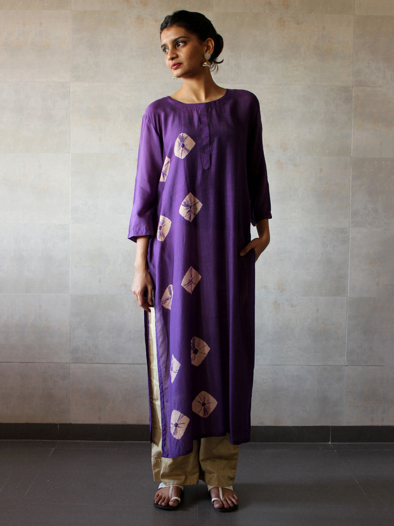 Violet Beige Bandhej Cotton Silk Straight Tunic