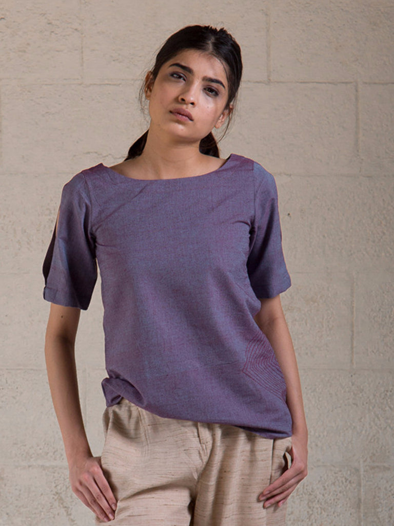 Violet Embroidered Cotton Top