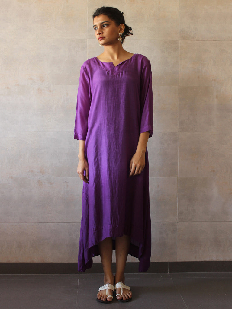 Violet Ombre Cotton Silk Tunic