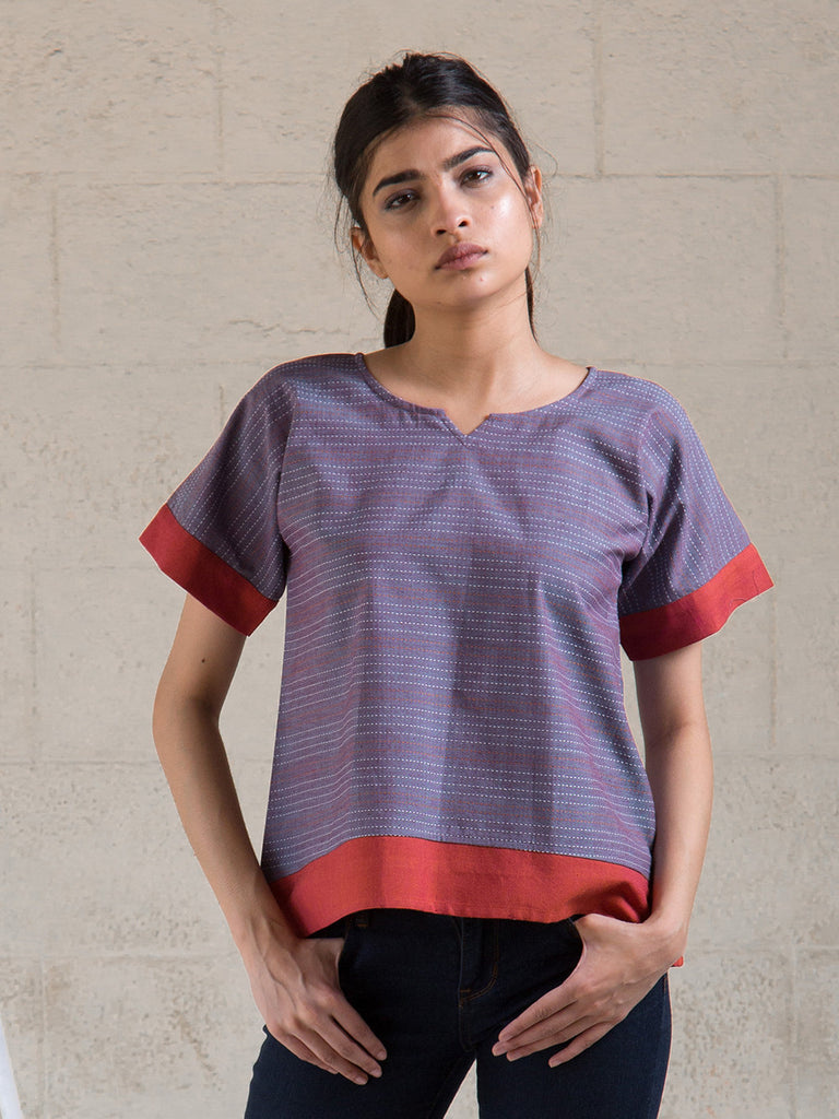 Violet Red Cotton Top
