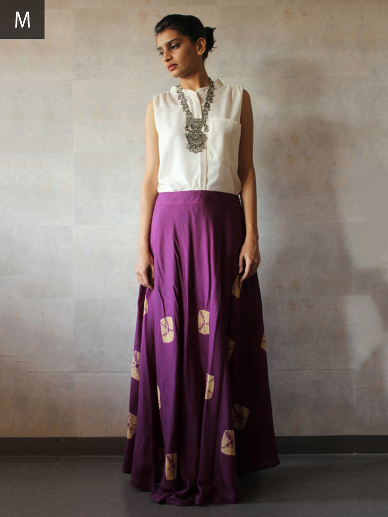 Violet Cotton Silk Bandhej Skirt