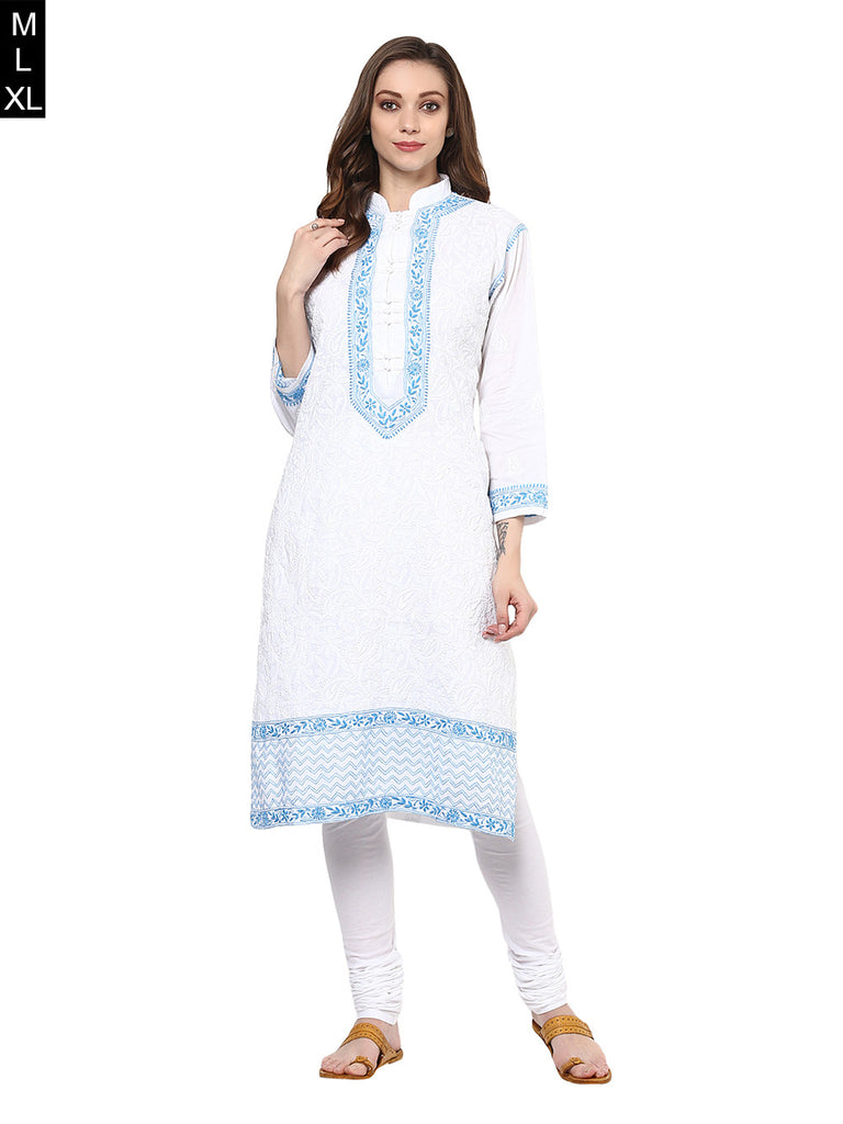 White Blue Lucknowi Hand Embroidered Cotton Kurta
