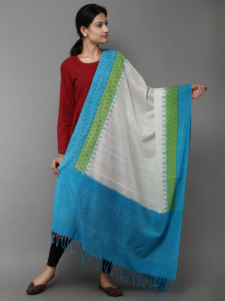 White Blue Missing Ikat Cotton Dupatta