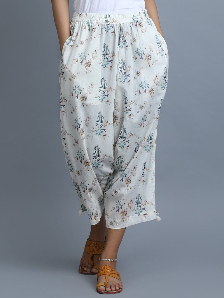 White Cotton Printed Harem Pants