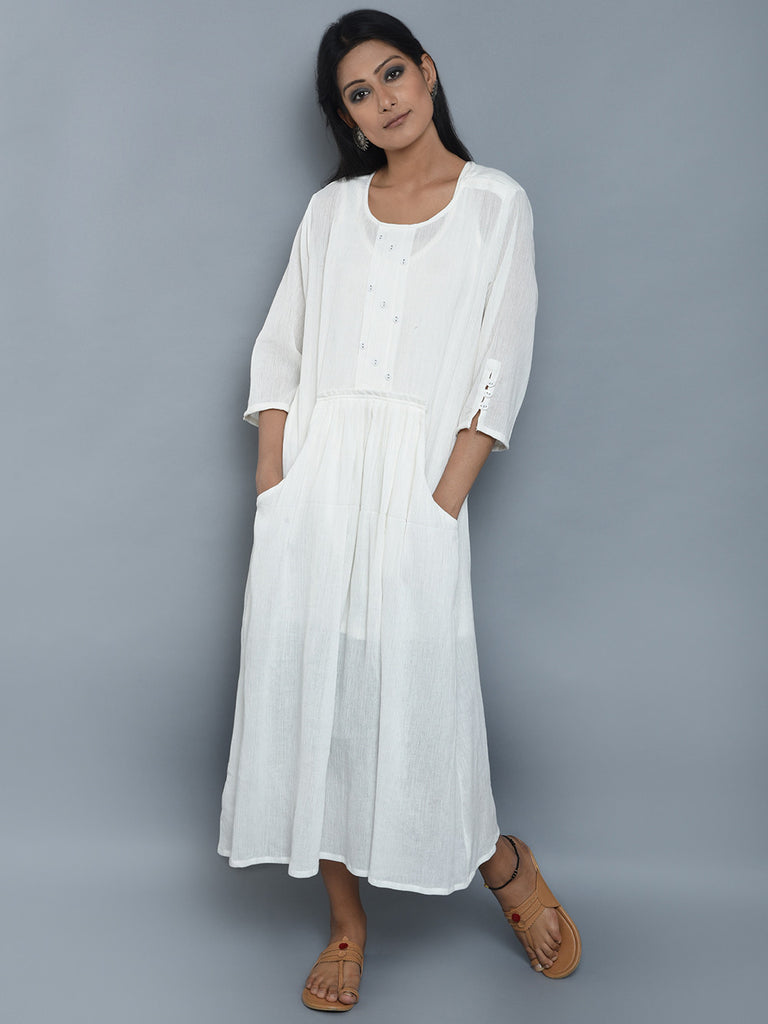White Center Pleated Viscose Crepe Dress