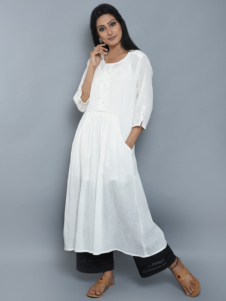 White Center Pleated Viscose Crepe Kurta and Black Palazzo - Set of 2