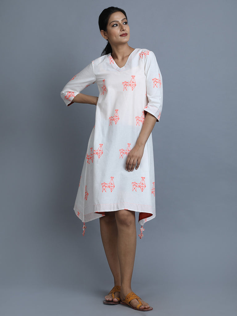 White Cotton Asymmetric Dress