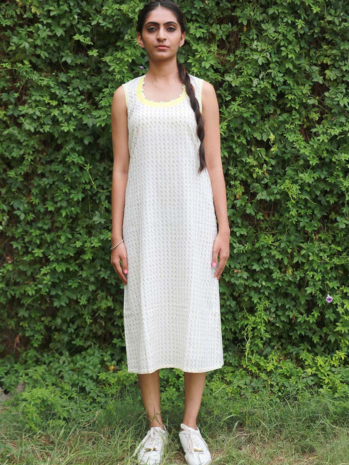 White Cotton Block Printed Dress
