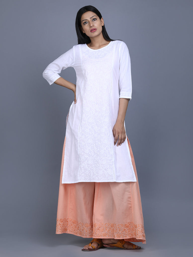 White Cotton Hand Embroidered Kurta