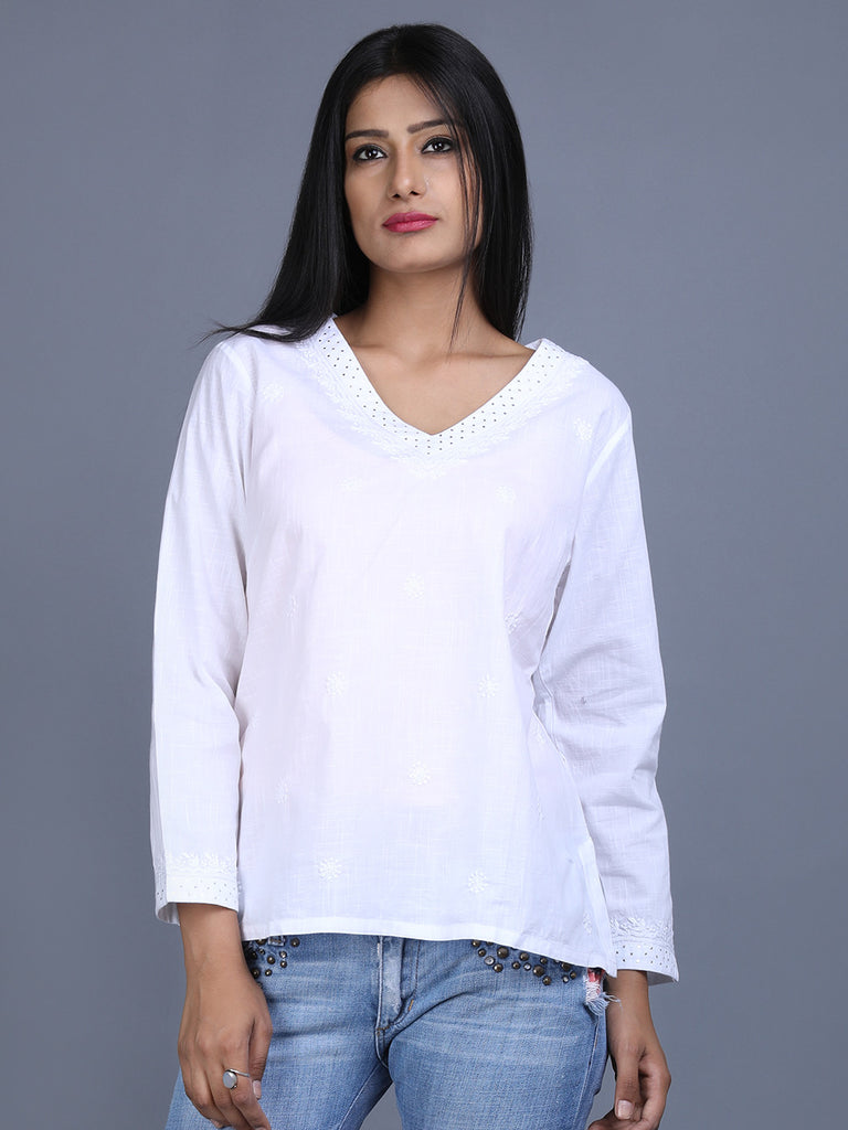 White Cotton Hand Embroidered Top