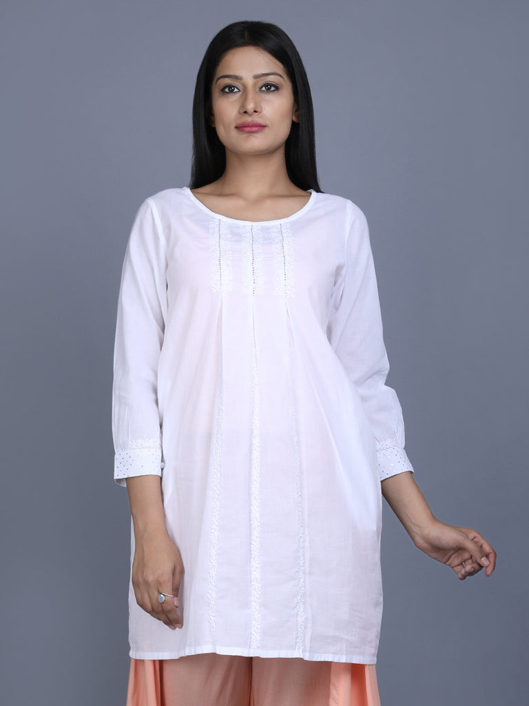 White Cotton Hand Embroidered Tunic