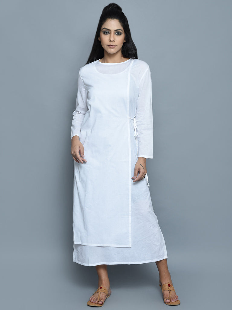 White Cotton Double Layered Dress