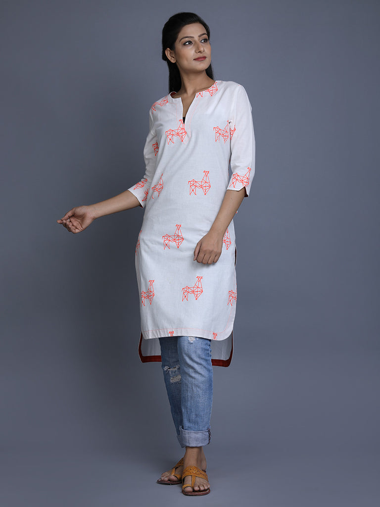 White Cotton High Low Kurta