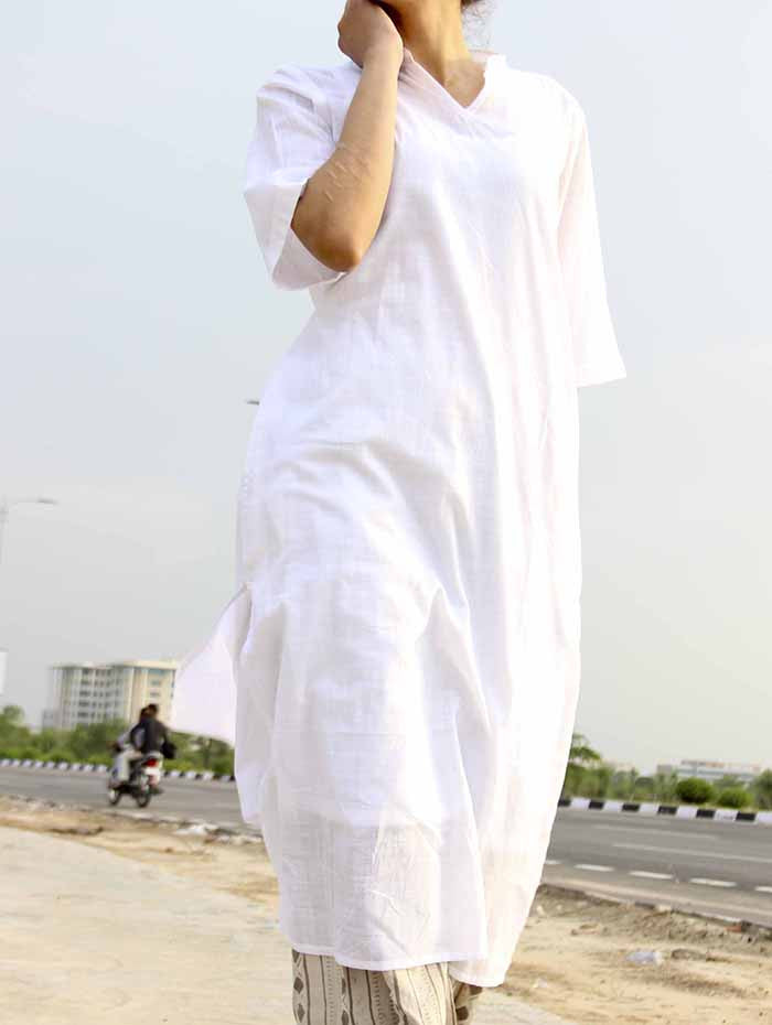 White Soft Slub Cotton Kurta