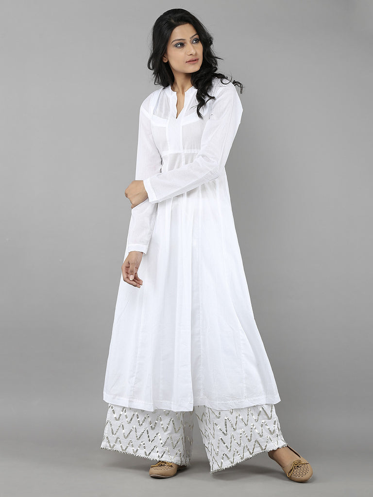 White Mulmul Kurta and Ijar Pants- Set of 2