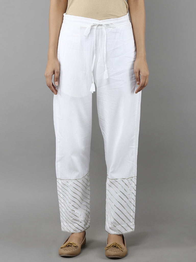White Cotton Mulmul Pants