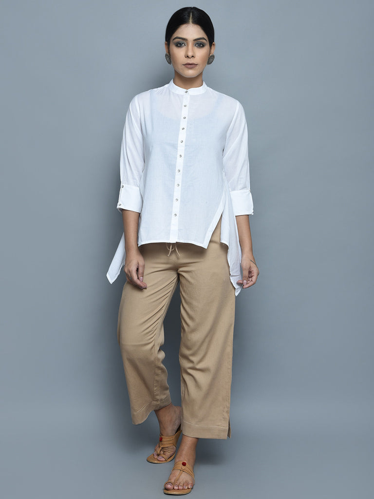 White Cotton Overlap Shirt