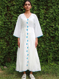White Cotton Pleated Dress