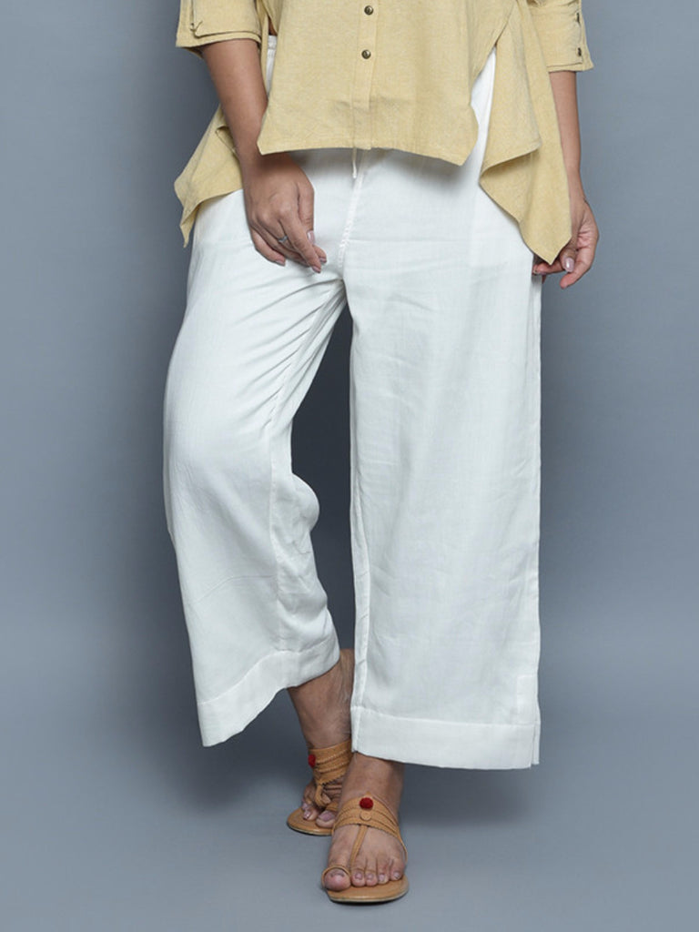 White Cotton Straight Fit Pants