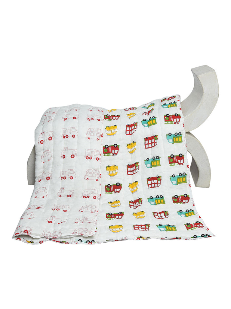 Multi Color Bus & Fire Engine Cotton Screen Printed Baby Quilt