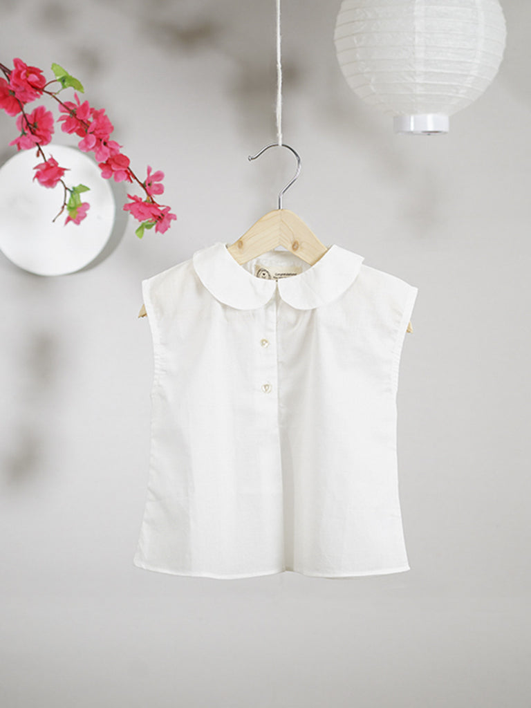 White Cotton Peter Pan Collar Shirt