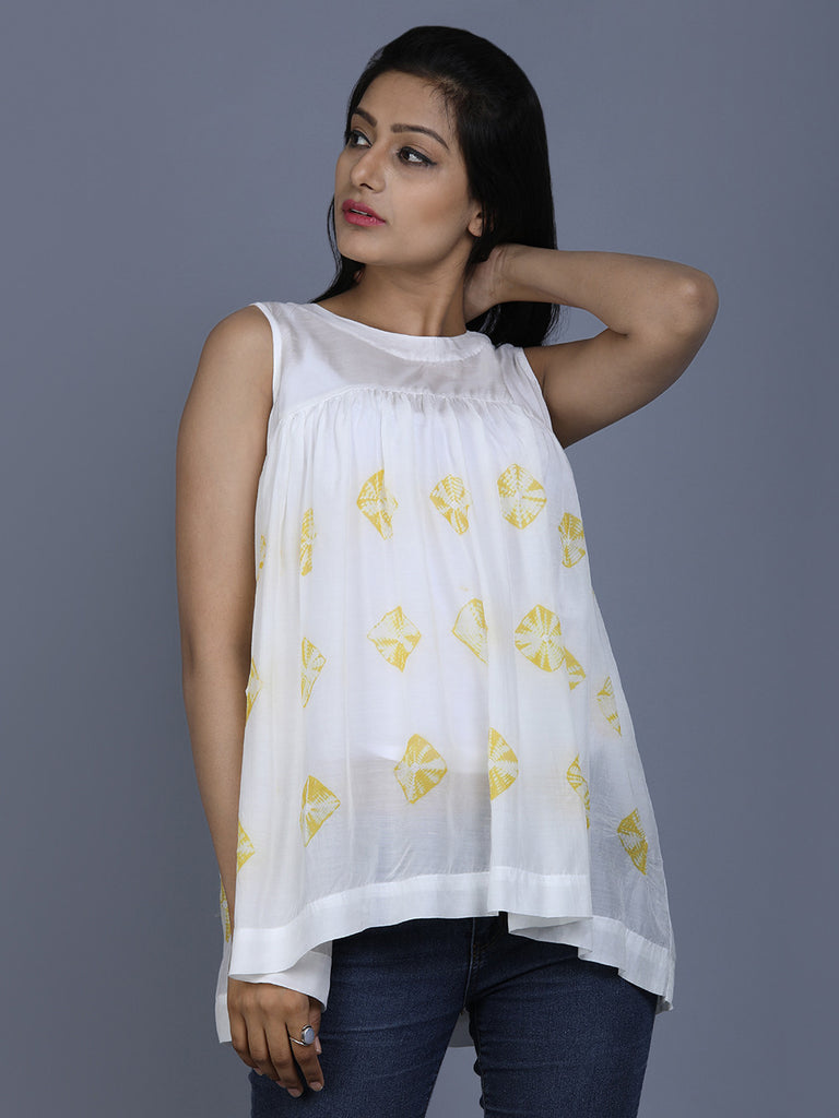 White Cotton Silk Bandhej Top