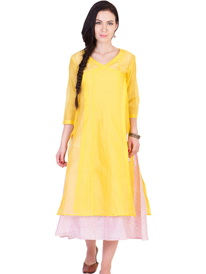 White Cotton Silk Tunic with Yellow Chanderi Over