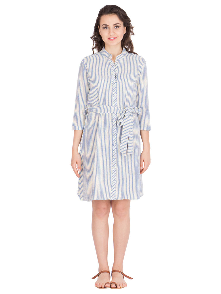 Off White Cotton Striped A-Line Dress