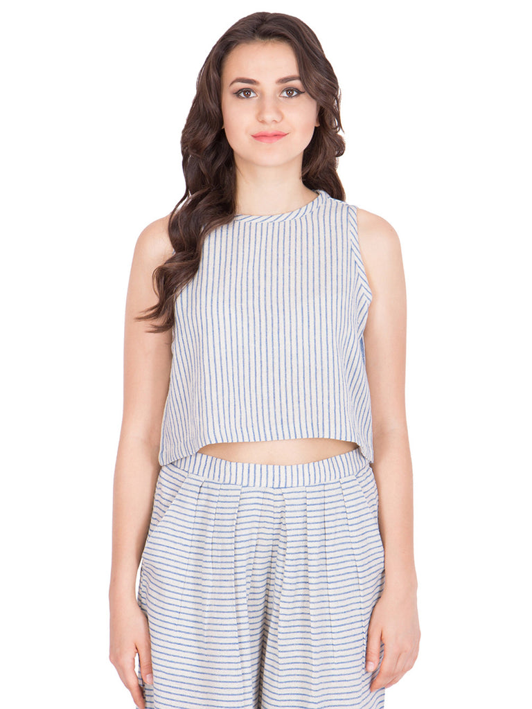 Off White Cotton Striped Crop Top